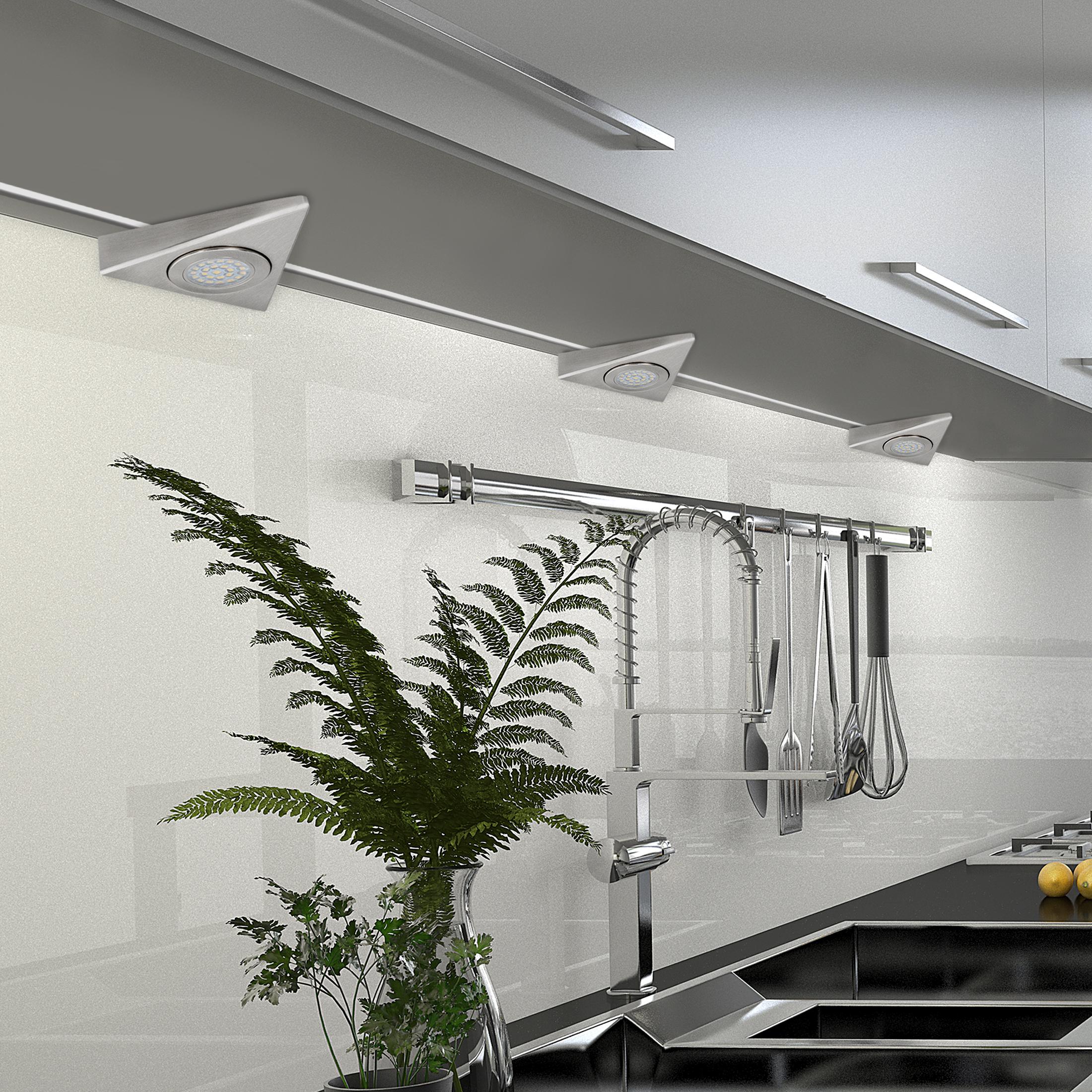 led dreieck m bel k chen unterbauleuchte stahl geb rstet 230v 1 5w neutralwei ebay. Black Bedroom Furniture Sets. Home Design Ideas