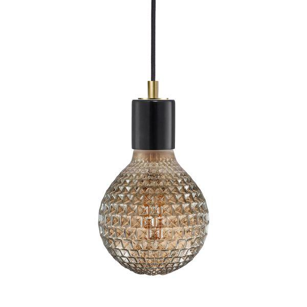 nordlux SIV Marmor Pendelleuchte schwarz, Kabel schwarz inkl. nordlux AVRA E27 LED Filament 2W extra warm weiß