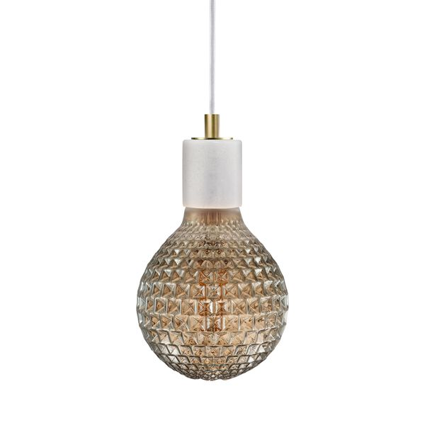 nordlux SIV Marmor Pendelleuchte weiß, Kabel weiß inkl. nordlux AVRA LED Filament 2W E27 extra warm weiß  – Bild 1