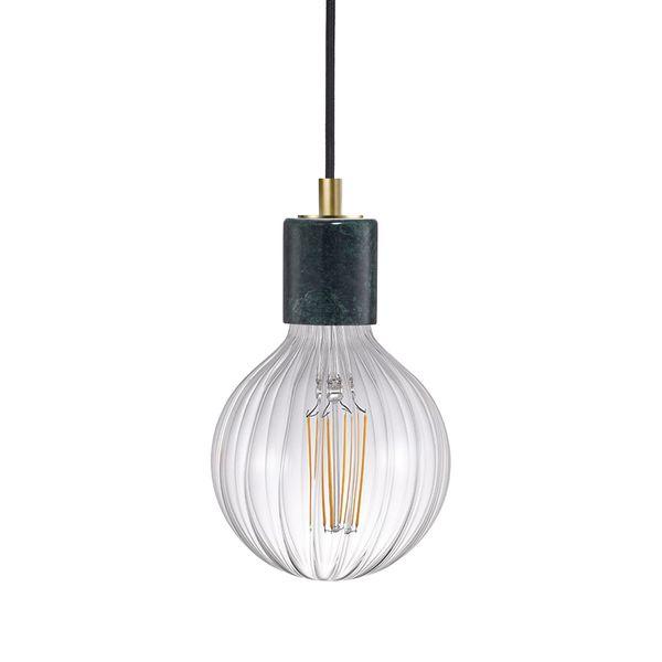 nordlux SIV Marmor Pendelleuchte grün, Kabel schwarz inkl. nordlux AVRA LED Filament 2W E27 extra warm weiß  – Bild 1