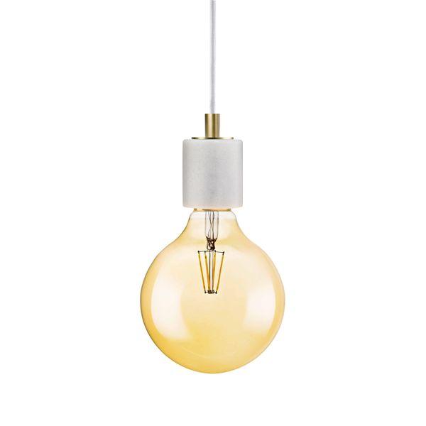 nordlux SIV Marmor Pendelleuchte weiß, Kabel weiß inkl. OSRAM LED VINTAGE 1906 7W Globe E27 650 Lumen warm weiß