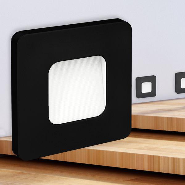 LED-Wandeinbauleuchte DEVA AC, schwarz, 1W 230V, IP20, Lichtfarbe warm weiß – Bild 1
