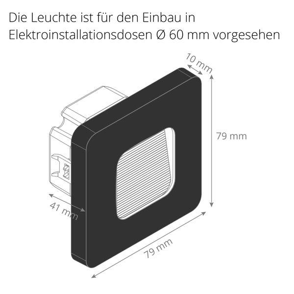 LED-Wandeinbauleuchte DEVA AC, schwarz, 1W 230V, IP20, Lichtfarbe warm weiß – Bild 9