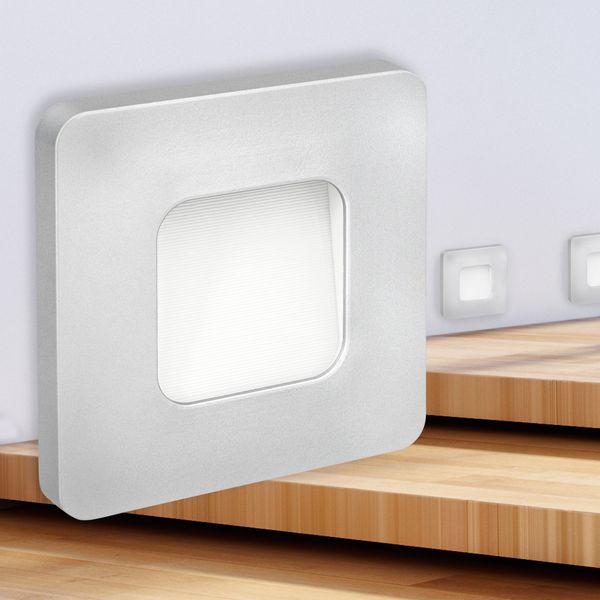 LED-Wandeinbauleuchte DEVA AC, silber, 1W 230V, IP20, Lichtfarbe warm weiß – Bild 2