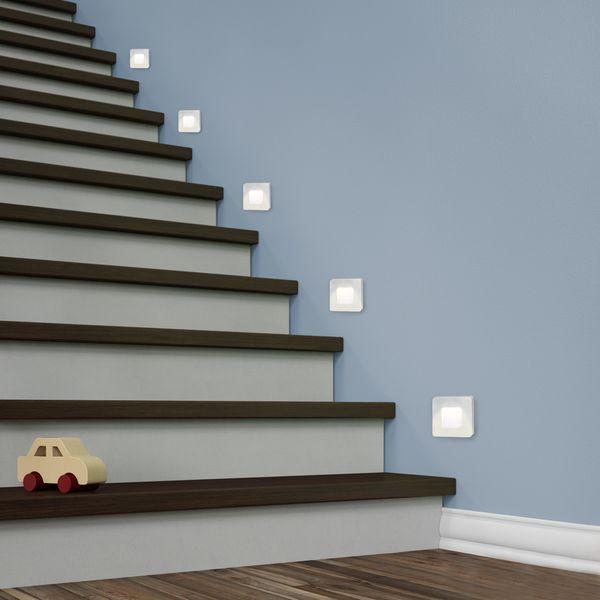LED-Wandeinbauleuchte DEVA AC, silber, 1W 230V, IP20, Lichtfarbe warm weiß – Bild 4