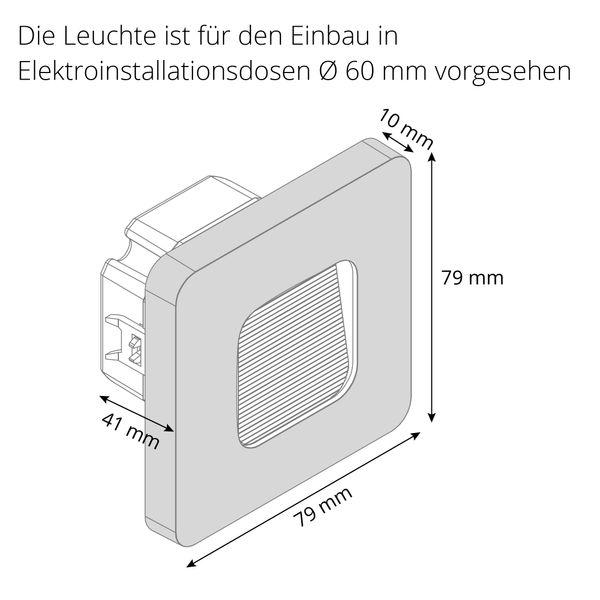 LED-Wandeinbauleuchte DEVA AC, silber, 1W 230V, IP20, Lichtfarbe warm weiß – Bild 9