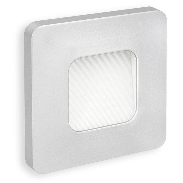 LED-Wandeinbauleuchte DEVA AC, silber, 1W 230V, IP20, Lichtfarbe warm weiß – Bild 1