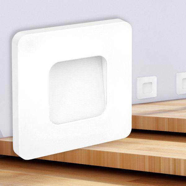 LED-Wandeinbauleuchte DEVA AC, weiß, 1W 230V, IP20, Lichtfarbe warm weiß – Bild 2