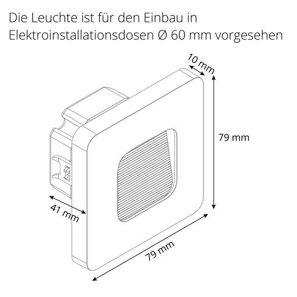 LED-Wandeinbauleuchte DEVA AC, weiß, 1W 230V, IP20, Lichtfarbe warm weiß – Bild 8