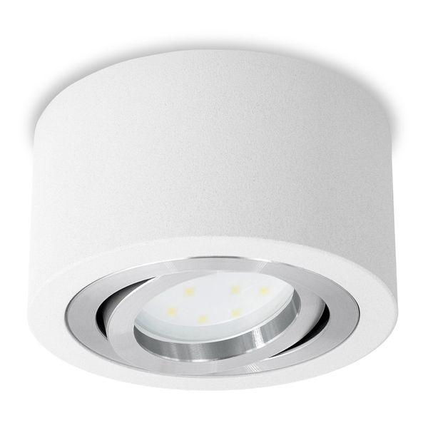Extra flacher Decken Aufbauspot weiß schwenkbar inkl. fourSTEP Dim LED Modul 5W 420lm warmweiß – Bild 2