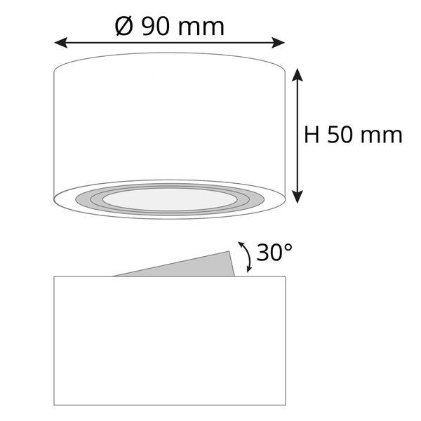 Extra flacher Decken Aufbauspot weiß schwenkbar inkl. fourSTEP Dim LED Modul 5W 420lm warmweiß – Bild 9