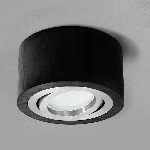 Flacher Decken-Aufbau-Spot Alu schwarz, schwenkbar, inkl. LED-Modul 5W warm weiss 230V – Bild 2