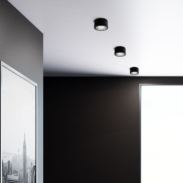 Flacher Decken-Aufbau-Spot Alu schwarz, schwenkbar, inkl. LED-Modul 5W warm weiss 230V – Bild 6