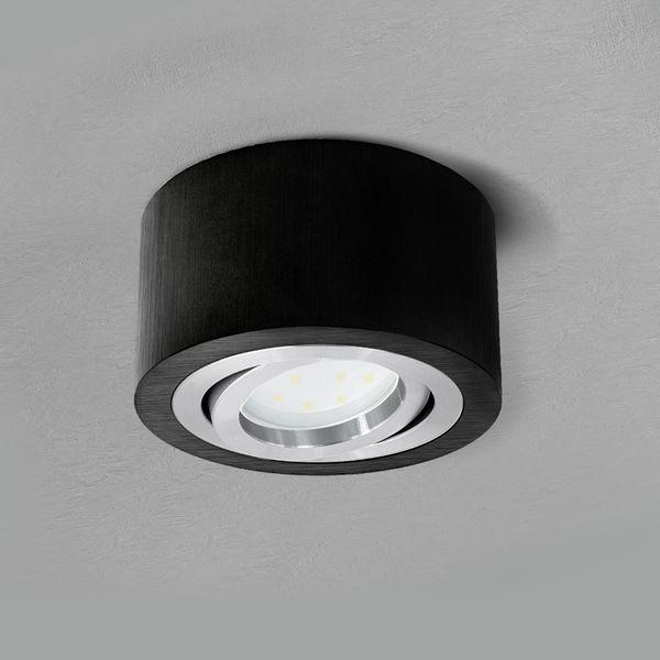 Flacher Decken-Aufbau-Spot Alu schwarz, schwenkbar, inkl. LED-Modul 5W warm weiss 230V – Bild 4