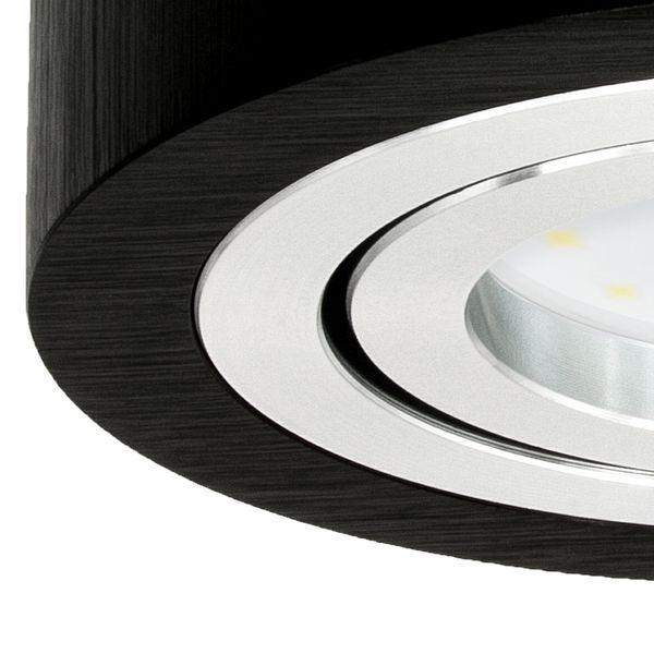 Flacher Decken Aufbauspot Alu schwarz schwenkbar rund mit LED Modul 5W neutralweiß 230V – Bild 5