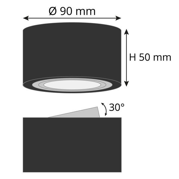 Extra flacher Deckenspot Aufbau Alu schwarz schwenkbar inkl. fourSTEP Dim LED Modul 5W 420lm warmweiß – Bild 9