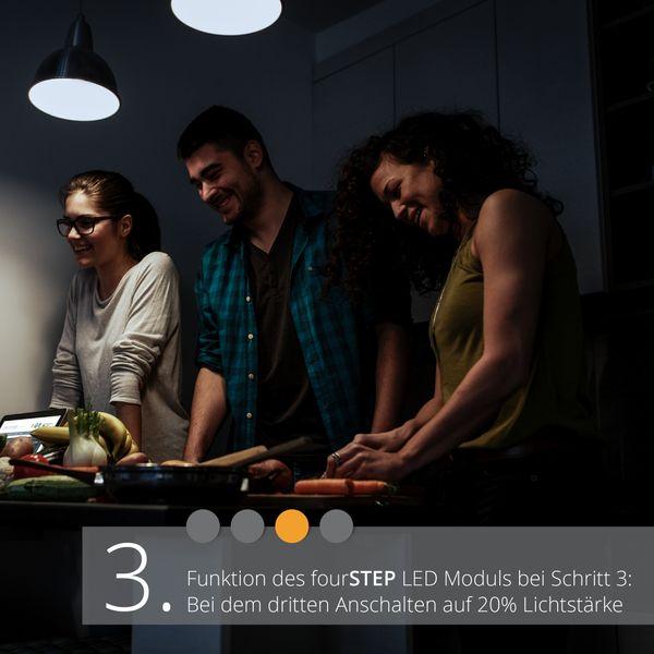 Extra flacher Deckenspot Aufbau Alu schwarz schwenkbar inkl. fourSTEP Dim LED Modul 5W 450lm neutralweiß – Bild 5