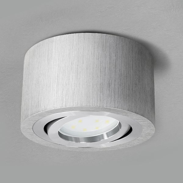 Flacher Decken-Aufbau-Spot Alu gebürstet, schwenkbar, inkl. LED-Modul 5W warm weiss 230V – Bild 2