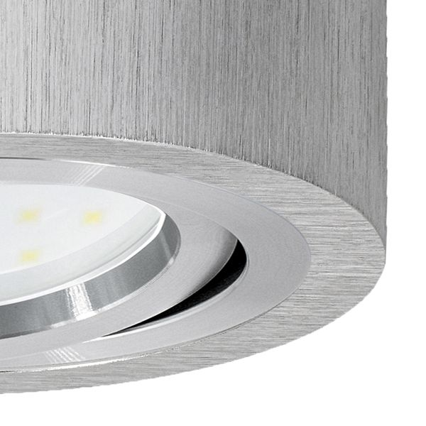 Flacher Decken Aufbauspot Alu gebürstet schwenkbar rund mit LED Modul 5W warmweiß 230V – Bild 5