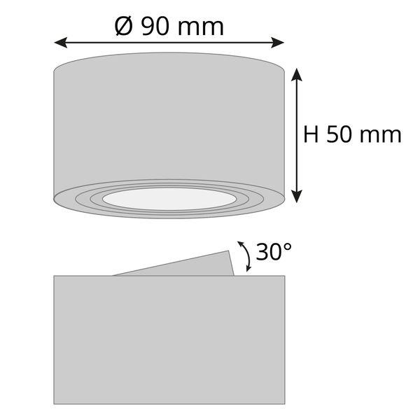 Flacher Decken-Aufbau-Spot Alu gebürstet, schwenkbar, inkl. LED-Modul 5W warm weiss 230V – Bild 8