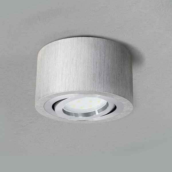 Flacher Decken-Aufbau-Spot Alu gebürstet, schwenkbar, inkl. LED-Modul 5W warm weiss 230V – Bild 4