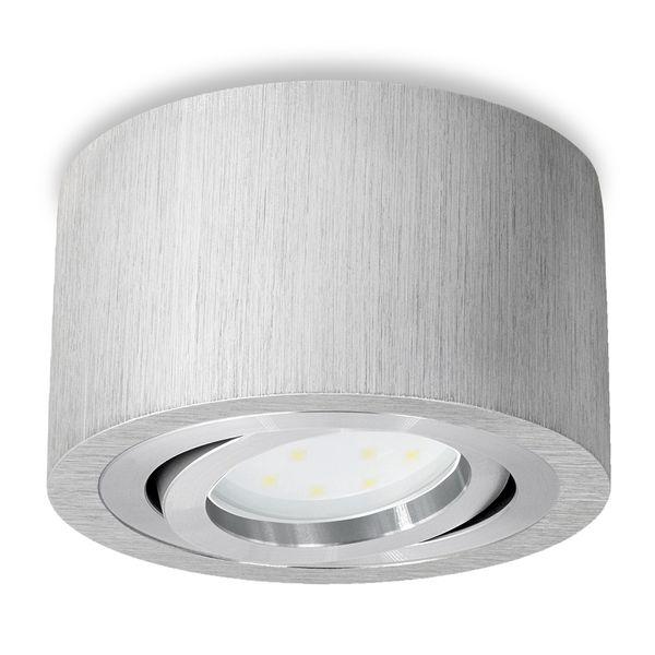 Extra flacher Aufbauspot Decke Alu gebürstet schwenkbar inkl. fourSTEP Dim LED Modul 5W 420lm warmweiß – Bild 2