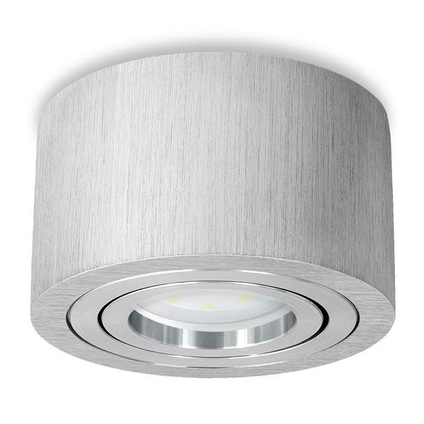 Extra flacher Aufbauspot Decke Alu gebürstet schwenkbar inkl. fourSTEP Dim LED Modul 5W 450lm neutralweiß – Bild 1