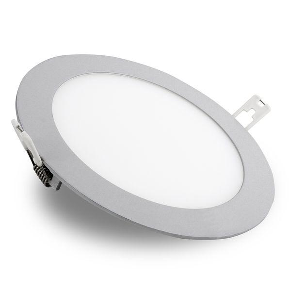flache LED Deckenlampe Einbau-Panel - Einbauleuchte ROUNDA N silber LED SMD rund, 18W warm weiß, 230V IP44 – Bild 1