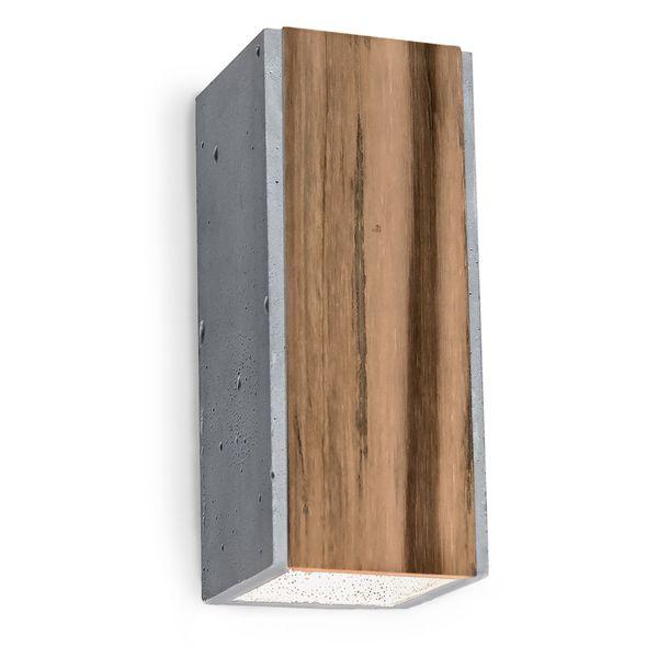 Graue Beton Wandaufbauleuchte ORTO TEAK mit Teakholz-Einlage, 230V, 2 x LED GU10 5W warm weiss
