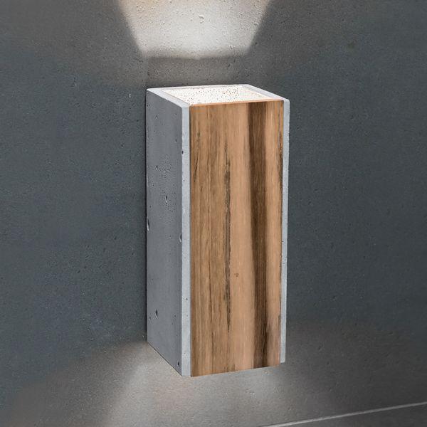 Graue Beton Wandaufbauleuchte ORTO TEAK mit Teakholz-Einlage, 230V, 2 x LED GU10 5W neutral weiss – Bild 2