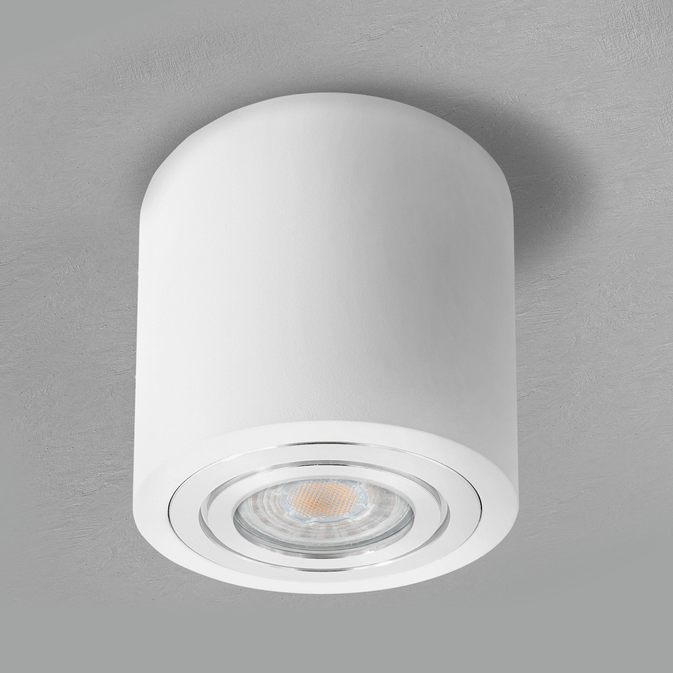 LED Deckenleuchte Bad IP20 inkl. LED GU20 20W warmweiß Aufbauspot in weiß &  rund