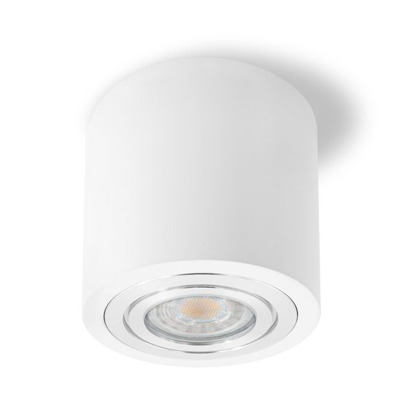 Feuchtraum Decken-Aufbau-Spot Alu weiß, IP44, inkl. LED GU10 5W 400lm warmweiß – Bild 1