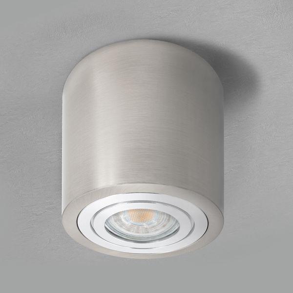 Decken-Aufbau-Spot Alu Eisen gebürstet, IP44, inkl. LED 5W 400lm 2700K warmweiß – Bild 2