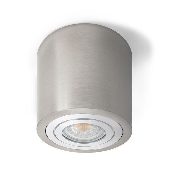 Feuchtraum Decken-Aufbau-Spot Alu Eisen gebürstet, IP44, inkl. LED  - 5W 420lm 4000K neutralweiß – Bild 1