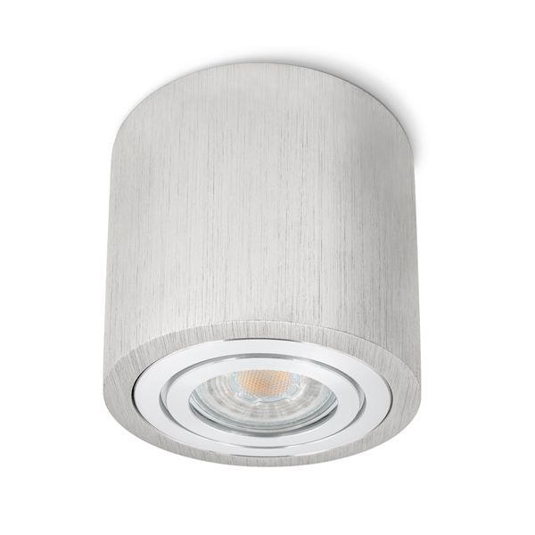Feuchtraum Bad Aufbau Deckenspot Alu gebürstet IP44 inkl. LED 5W 2700K warmweiß – Bild 1