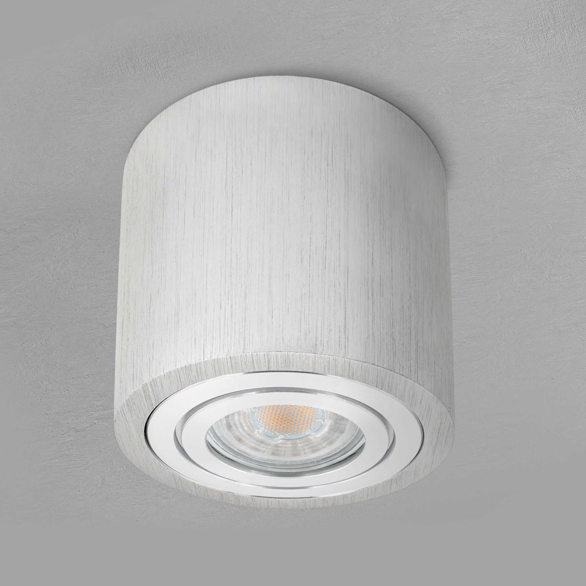 Feuchtraum Bad Aufbaustrahler Alu gebürstet IP8 inkl. LED GU8 8W  neutralweiß