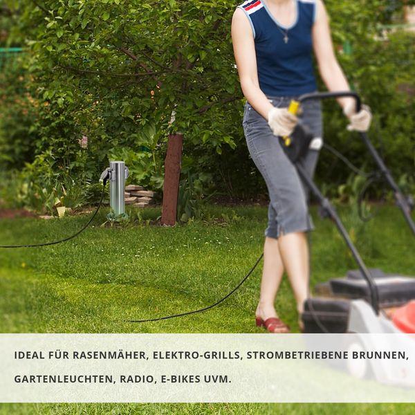 Außen-/Garten-Steckdosensäule mit 2 Steckdosen, Edelstahl, Außensteckdose, Gartensteckdose Energiesäule, IP44 – Bild 4