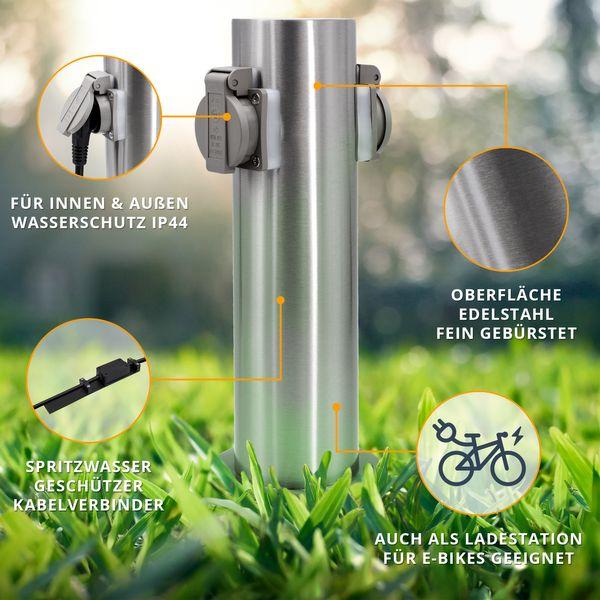 Außen-/Garten-Steckdosensäule mit 2 Steckdosen, Edelstahl, Außensteckdose, Gartensteckdose Energiesäule, IP44 – Bild 2