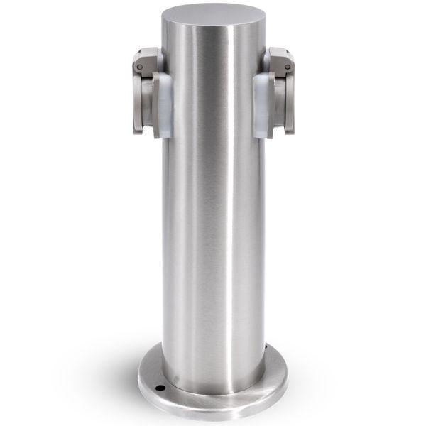 Außen-/Garten-Steckdosensäule mit 2 Steckdosen, Edelstahl, Außensteckdose, Gartensteckdose Energiesäule, IP44 – Bild 5