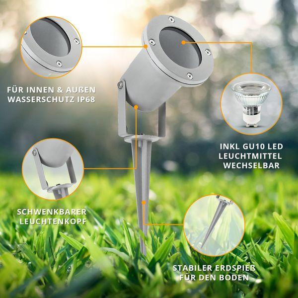 LED-Gartenstrahler mit Erdspieß und Kabel, rund silbergrau, 3W neutralweiß, GU10 230V IP68/ IP44 – Bild 3