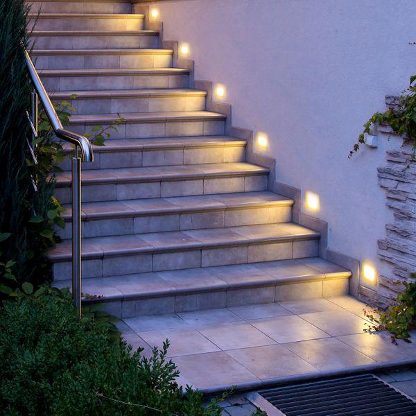 LED Treppenleuchte Piko-SQ Lichtfarbe warmweiß quadratischer Einbaustrahler 230V IP65 1,5W Stückzahl: 1er Set – Bild 3