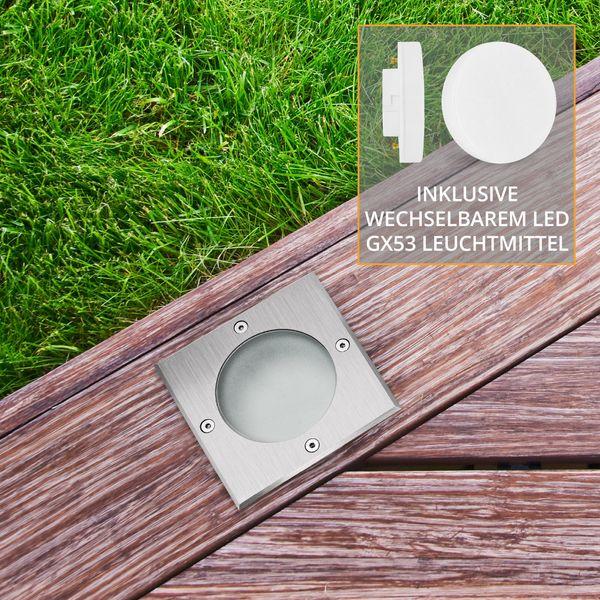 Bodeneinbaustrahler quadratisch VIROK inklusive LED GX53 3W warmweiß 320lm 230V – Bild 4