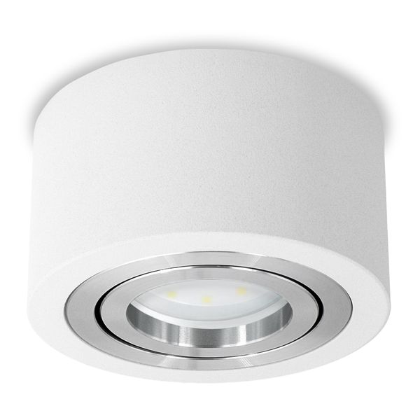 Flacher Decken-Aufbau-Spot Alu weiß, schwenkbar, inkl. LED-Modul 5W warm weiss 230V DIMMBAR – Bild 1