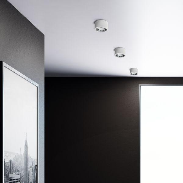 Flacher Decken Aufbauspot weiß schwenkbar inkl. LED Modul 5W dimmbar warmweiß 230V – Bild 5