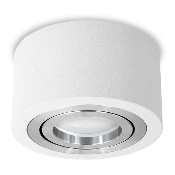 Flacher Decken-Aufbau-Spot Alu weiß, schwenkbar, inkl. LED-Modul 5W neutral weiss 230V DIMMBAR