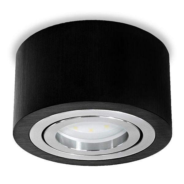 Flacher Decken-Aufbau-Spot Alu schwarz, schwenkbar, inkl. LED-Modul 5W warm weiss 230V DIMMBAR