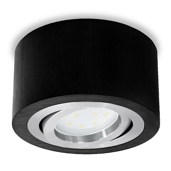 Flacher Decken Aufbauspot schwarz schwenkbar inkl. dimmbarem LED Modul 5W warmweiß 230V – Bild 3