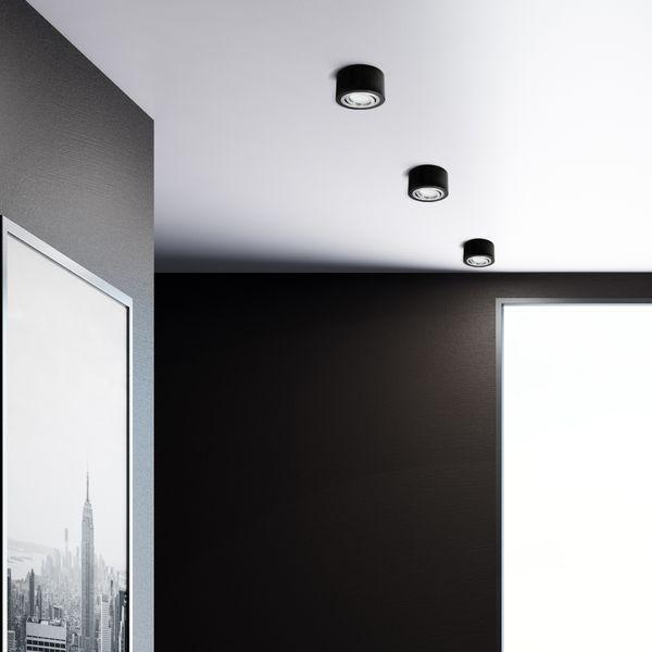 Flacher Decken-Aufbau-Spot Alu schwarz, schwenkbar, inkl. LED-Modul 5W warm weiss 230V DIMMBAR – Bild 5