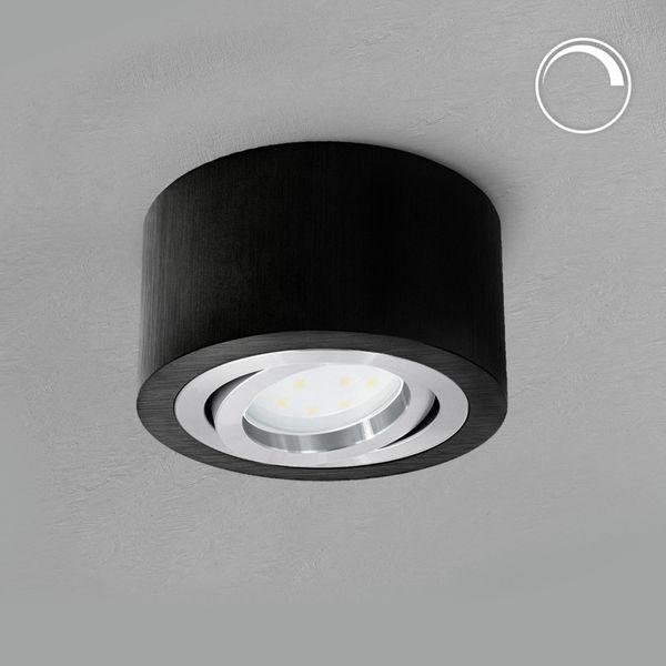 Flacher Decken Aufbauspot schwarz schwenkbar inkl. dimmbarem LED Modul 5W warmweiß 230V – Bild 2
