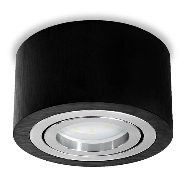 Flacher Decken-Aufbau-Spot Alu schwarz, schwenkbar, inkl. LED-Modul 5W neutral weiss 230V DIMMBAR – Bild 1